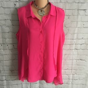 Hot pink sleeveless button down layered blouse L